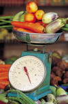 Fruits and vegetables on a scale at Piedmont Pediatric Dentistry in Charlottesville, Waynesboro and Crozet, VA